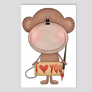 I love you- monkey Postcards (Package of 8)