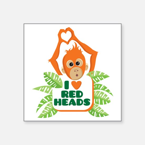 "I Love (heart) Red H... Square Sticker 3"" x 3"""