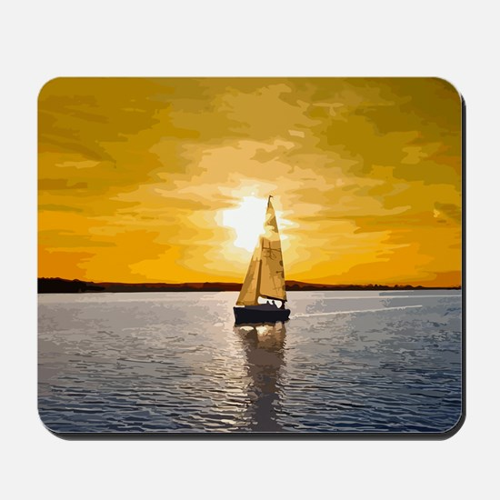 Sailing into the sunset Mousepad