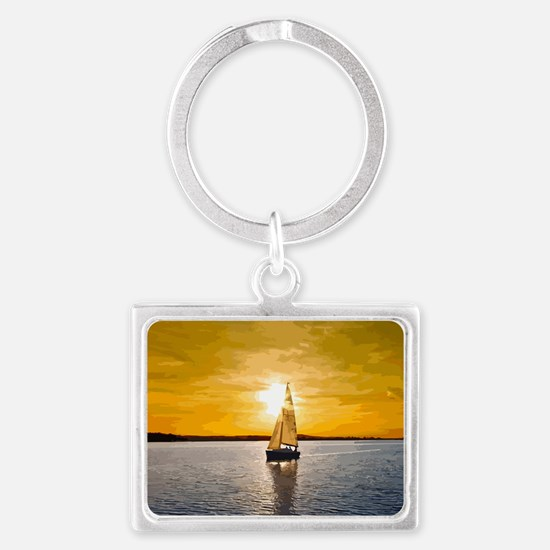 Sailing into the sunset Landscape Keychain