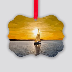 Sailing into the sunset Picture Ornament