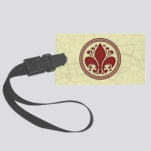 fleur-antique-red-OV Large Luggage Tag