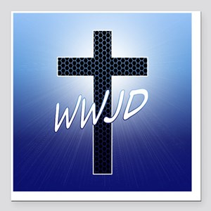 "WWJD Square Car Magnet 3"" x 3"""
