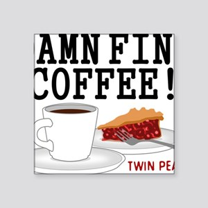 "Twin Peaks Damn Fine Coffee Square Sticker 3"" x 3"""