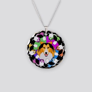 Sheltie Dog Breed Graphics Necklace Circle Charm