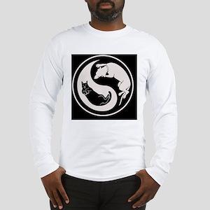 cat-dog-yang-bw-OV Long Sleeve T-Shirt
