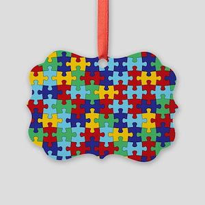 Autism Awareness Puzzle Piece Pat Picture Ornament