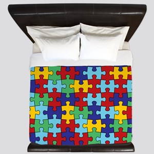 Autism Awareness Puzzle Piece Pattern King Duvet
