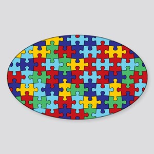 Autism Awareness Puzzle Piece Patte Sticker (Oval)