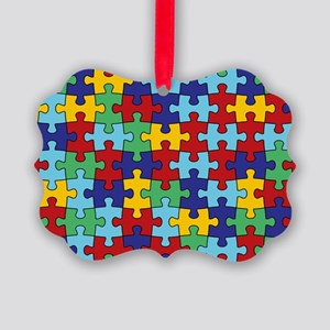 Autism Awareness Puzzle Piece Pat Picture Ornament
