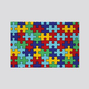 Autism Awareness Puzzle Piece Pat Rectangle Magnet