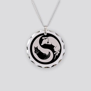 cat-dog-yang-bw-T Necklace Circle Charm