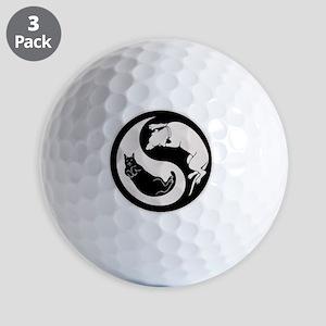 cat-dog-yang-bw-T Golf Balls