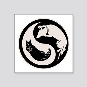 "cat-dog-yang-bw-T Square Sticker 3"" x 3"""