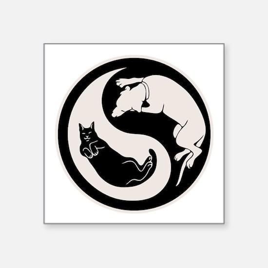 "cat-dog-yang-bw-T Square Sticker 3"" x 3"""