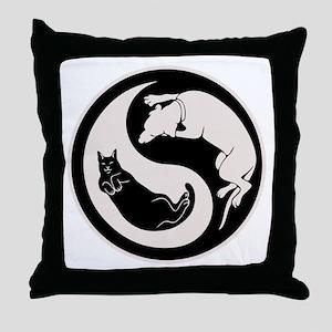cat-dog-yang-bw-T Throw Pillow