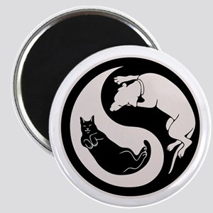 cat-dog-yang-bw-T Magnet