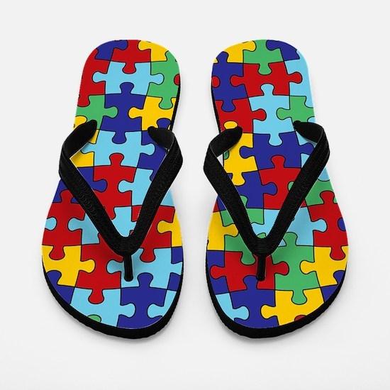 Autism Awareness Puzzle Piece Pattern Flip Flops