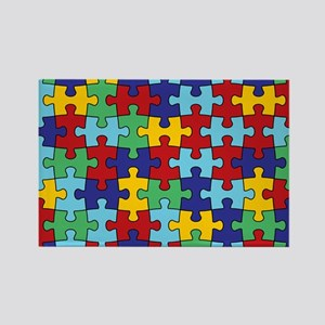 Autism Awareness Puzzle Piece Pat Rectangle Magnet
