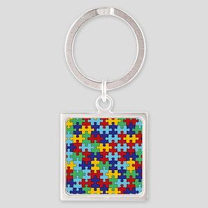 Autism Awareness Puzzle Piece Patt Square Keychain
