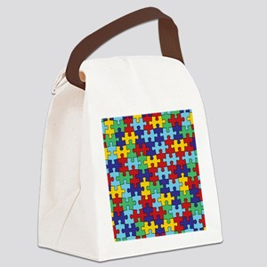 Autism Awareness Puzzle Piece Pat Canvas Lunch Bag