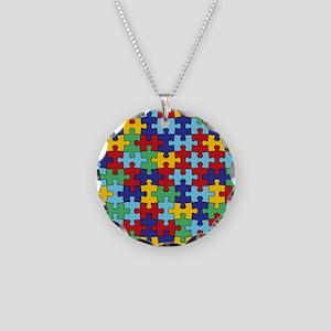 Autism Awareness Puzzle Piec Necklace Circle Charm