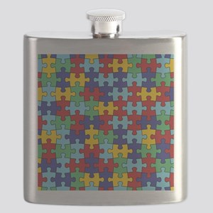 Autism Awareness Puzzle Piece Pattern Flask