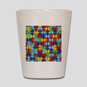 Autism Awareness Puzzle Piece Pattern Shot Glass