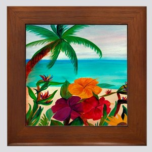 Tropical Floral Beach Framed Tile