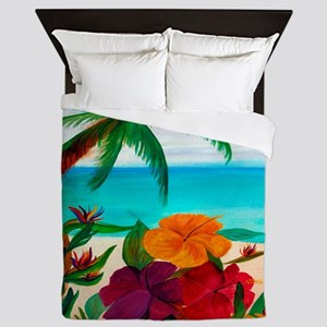 Tropical Floral Beach Queen Duvet