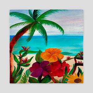 Tropical Floral Beach Queen Duvet