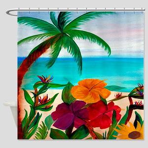 Tropical Floral Beach Shower Curtain