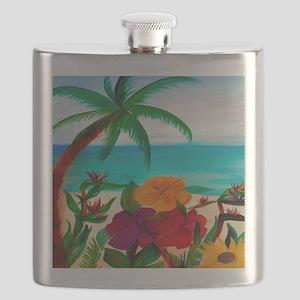 Tropical Floral Beach Flask