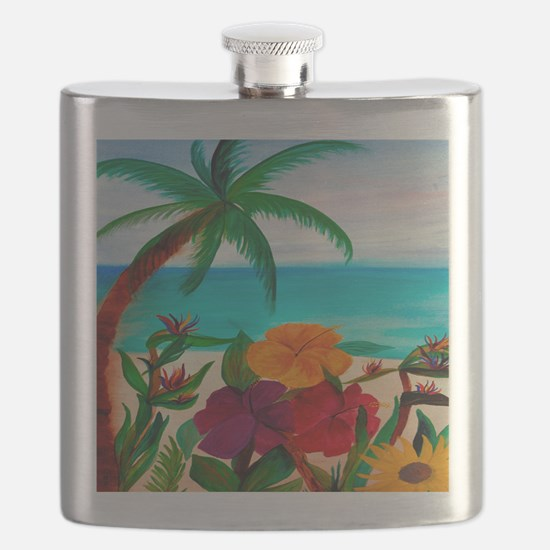 Tropical Floral Beach Flask
