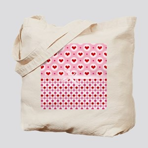 Red Hearts Pink Bow Tote Bag