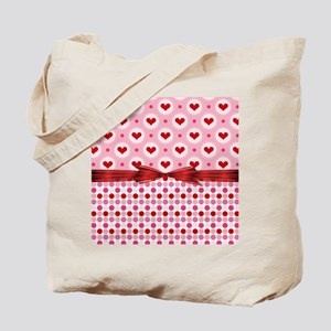 Red Hearts Red Bow Tote Bag