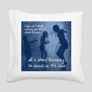 Dancing in the Rain Square Canvas Pillow