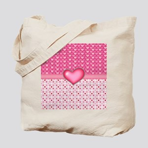 Pink Hearts and Peace Dots Tote Bag