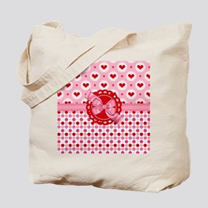 Red Pink Hearts and Bows Tote Bag