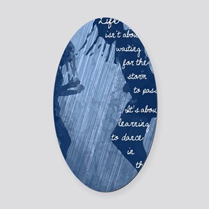 Dancing in the Rain Oval Car Magnet