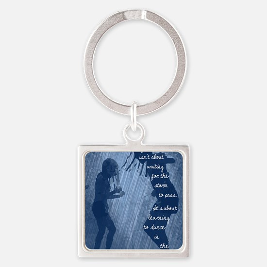 Dancing in the Rain Square Keychain
