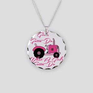 Pink Tractor Necklace Circle Charm