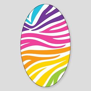 Rainbow Zebra Print Sticker (Oval)