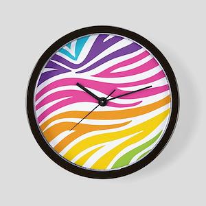 Rainbow Zebra Print Wall Clock