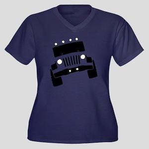 Jeepster Roc Women's Plus Size Dark V-Neck T-Shirt