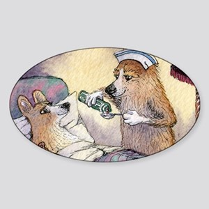 Corgi Nightingale nurse dog Sticker (Oval)