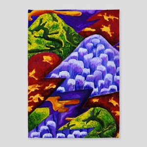 Dragonland - Green Dragons  Blue Ic 5'x7'Area Rug