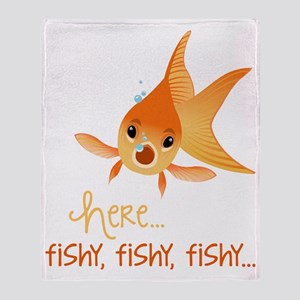 Here Fishy Throw Blanket