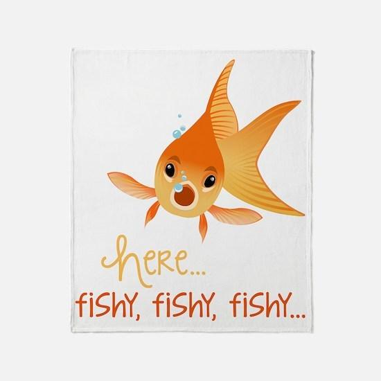 Here Fishy Throw Blanket