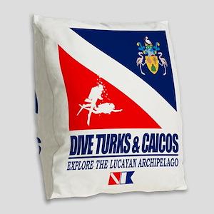 Dive Turks  and Caicos Burlap Throw Pillow